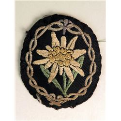 LARGE ORIG NAZI MOUNTAIN TROOPS SLEEVE PATCH EDELWEISS