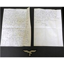 LUFTWAFFE BREAST INSIGNIA & 2 PG LETTER STATING HE SENT