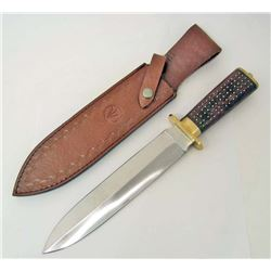 VALLEY FORGE FIXED BLADE KNIFE W/ SHEATH & BEAVER TAIL HANDLE