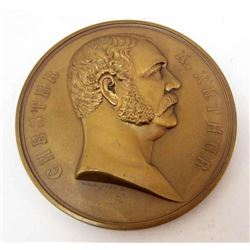 US PRESIDENT CHESTER A ARTHUR 1881 BRONZE TABLE MEDALLION