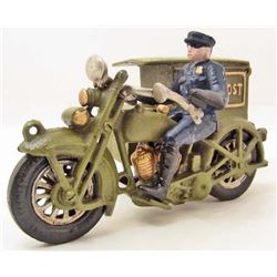 CAST IRON PARCEL POST MOTORCYCLE W/ RIDER