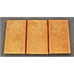LOT OF 3 2011 AVDP ONE POUND .999 FINE COPPER INGOT