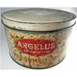 VINTAGE ANGELUS MARSHMALLOW ADVERTISING TIN W/ LID