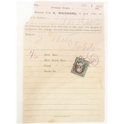 1898 HENRY WEINHARD BEER RECEIPT - BEER SHIPPED BY SHIP