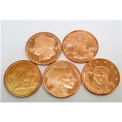 LOT OF 5 2011 DIFFERENT 1 OUNCE COPPER ROUND COINS