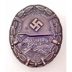 GERMAN NAZI BLACK JULY 20 1944 ADOLF HITLER WOUND BADGE