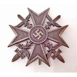 GERMAN NAZI LUFTWAFFE BRONZE CONDOR LEGION SPANISH CROSS WITH SWORDS
