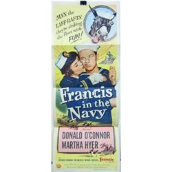"""1955 """"FRANCIS IN THE NAVY"""" INSERT MOVIE POSTER"""