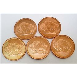 LOT OF 5 2011 ONE OZ. COPPER ROUND BUFFALO COIN