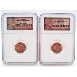 LOT OF 2 2009-D LINCOLN 1 CENT COINS BIRTH & CHILDHOOD