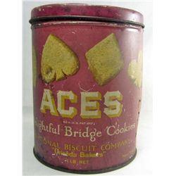 VINTAGE ACES BRIDGE COOKIES ADVERTISING TIN W/ LID