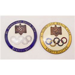 LOT OF 2 GERMAN NAZI 1936 BERLIN SUMMER OLYMPICS STARTER & JUDGE BADGES