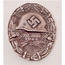 GERMAN NAZI SILVER JULY 20 1944 ADOLF HITLER WOUND BADGE