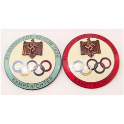 LOT OF 2 GERMAN NAZI 1936 BERLIN SUMMER OLYMPIC JUDGE BADGES