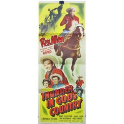 "1951 ""THUNDER IN GOD'S COUNTRY"" WESTER INSERT MOVIE POSTER"