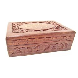 CARVED WOODEN JEWELRY BOX W/ ABALONE SHELL INLAY