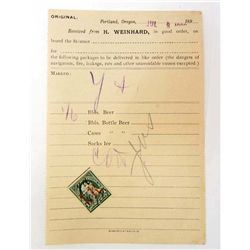 C. 1890'S H. WEINHARD BEER RECEIPT BY THE STEAMSHIP YOUNG AMERICA