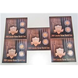 LOT OF 5 2010-P LINCOLN UNION SHIELD CENT DISPLAYS