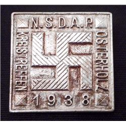 GERMAN NAZI 1938 NSDAP KREISTREFFEN OSTERHOLZ TINNIE BADGE