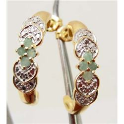 14KT GOLD OVER STERLING SILVER EMERALD & DIAMOND EARRINGS
