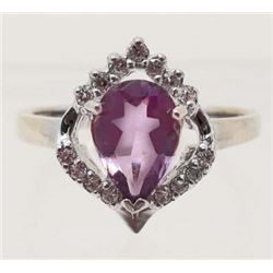 WHITE GOLD OVER STERLING SILVER AMETHYST RING - SZ 8.75