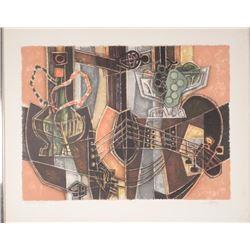 Artist Signed Proof Print Cubist Guitar, Hookah