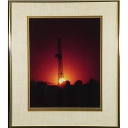 Donald H. Easton Photo Oil Field At Night Rig #8 Framed