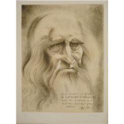 Christian Zeimert Signed Art Print Portrait of Da Vinci