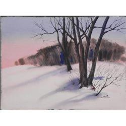 Al Stine Original Watercolor Painting Winter Landscape