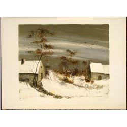 Fatima Signed Lithograph Art Winter Scene