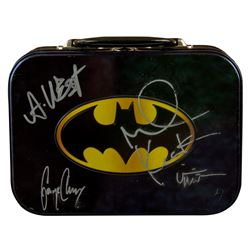 Batman Tin Lunchbox by Vandor Signed by 4 Batman Actors Kilmer, Clooney, Keaton & West