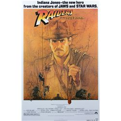 Raiders of the Lost Ark Poster Signed by Harrison Ford, Steven Spielberg and George Lucas