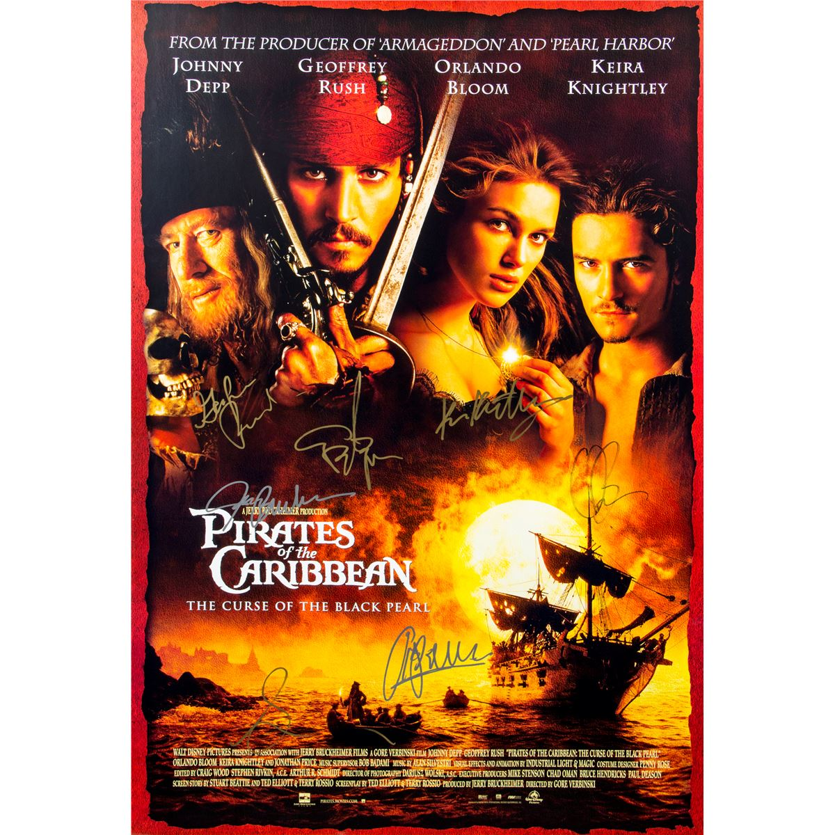 Pirates of the Caribbean: The Curse of the Black Pearl Original One-Sheet  Poster Signed by Cast