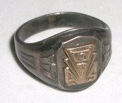 VINTAGE HIGH SCHOOL CLASS RING 10K GOLD TOP & STERLING