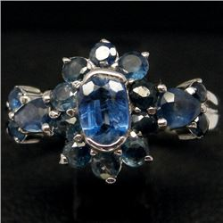 WHITE GOLD OVER STERLING SILVER KYANITE & SAPPHIRE RING - SZ. 5.5