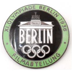 NAZI GERMAN ENAMELED BERLIN OLYMPICS FILM MAKERS BADGE