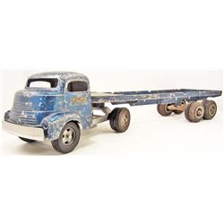 VINTAGE 1950'S SMITH & MILLER BLUE SEMI TRUCK AND TRAILER