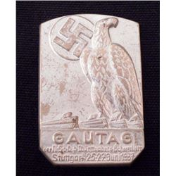 NAZI GERMAN STUTTGART GAUTAG TINNIE BADGE