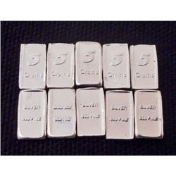 LOT OF 10 5 GRAIN INGOT BARS OF 99.9 PURE SILVER