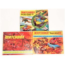 LOT OF 3 VINTAGE 1970'S MATCHBOX COLLECTOR'S CATALOG USA EDITION