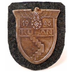 NAZI GERMAN KUBAN RUSSIA CAMPAIGN SHIELD GREEN WOOL BACKING