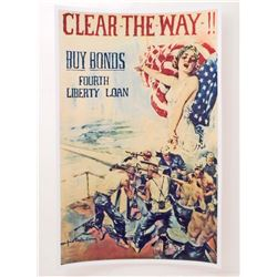 USA CLEAR THE WAY BUY BONDS WW1 PROPAGANDA POSTER PRINT - 11X17