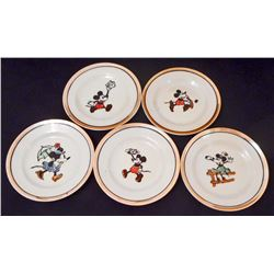 LOT OF 5 VINTAGE CIRCA 1950'S DISNEY MICKEY AND MINNIE MOUSE SAUCERS
