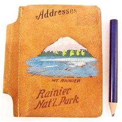 VINTAGE MT. RANIER NATIONAL PARK SOUVENIR LEATHER COVER ADDRESS BOOK