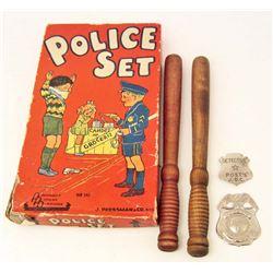 RARE VINTAGE 1930S POLICE SET TOY IN ORIGINAL BOX