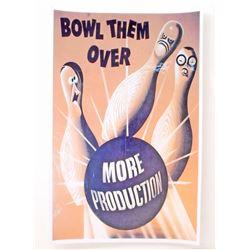 USA BOWL THEM OVER WW2 PROPAGANDA POSTER PRINT - 11X17