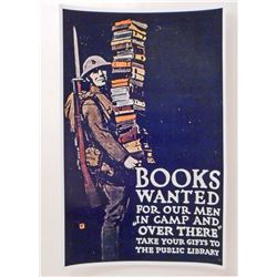 USA BOOKS WANTED FOR THE ARMY WW1 PROPAGANDA POSTER PRINT - 11X17