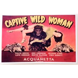 """CAPTIVE WILD WOMAN MOVIE POSTER PRINT APPROX. 11"""" X 17"""""""