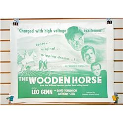 """1951 THE WOODEN HORSE HALF SHEET MOVIE POSTER APPROX. 28"""" X 21 1/4"""""""