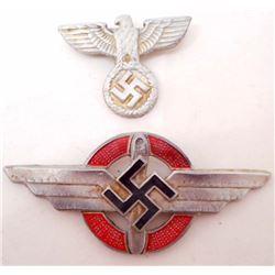 SET OF 2 NAZI GERMAN ARMY HAT BADGES